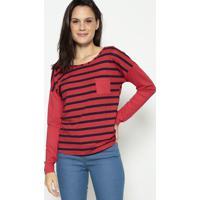 Blusa Listrada Com Bolso - Vermelha & Azul Escuromalwee