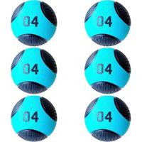 Kit 6 Medicine Ball Liveup Pro B 4 Kg Bola De Peso Treino Funcional - Unissex