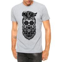 Camiseta Criativa Urbana Estilo Barbearia Caveira Mexicana Barba Cinza