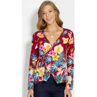Blusa Floral Modelo Transpassado
