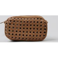 Bolsa Feminina Transversal Com Textura Vazada Caramelo - Único