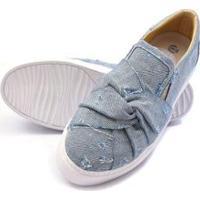 Sapatenis Click Calcados Tecido Jeans Feminino - Feminino-Azul