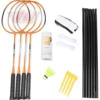 Kit Badminton Vollo - 4 Raquetes + 3 Petecas + Rede + Suporte - Unissex