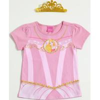 Blusa Infantil Princesa Aurora Brinde Coroa Disney
