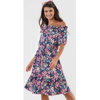 Vestido Fiveblu Curto Floral Azul/Rosa