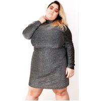 Vestido Curto Almaria Plus Size Alt Lurex Prata