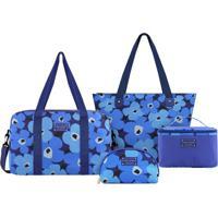 Conjunto De Bolsas Floral - Azul & Azul Escuro - 4Pçjacki Design