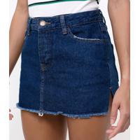 Saia Jeans Com Recortes Laterais
