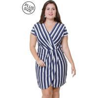 Vestido Estilo Fino Moda Plus Size Listras Azul