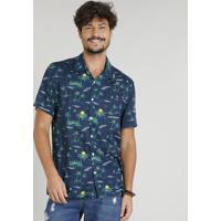 834b2bcd73 CEA  Camisa Masculina Estampada Tropical Manga Curta Gola Esporte Azul  Marinho