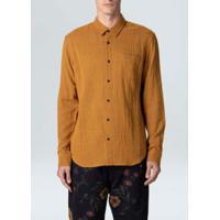 Camisa Duo Color Ml-Mostarda/Preto