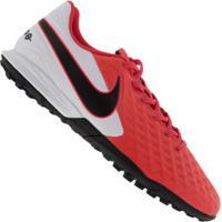 Chuteira Society Nike Tiempo Legend 8 Academy Tf - Adulto - Coral/Branco