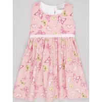 Vestido Infantil Estampado De Borboletas Com Laço Sem Manga Rosa