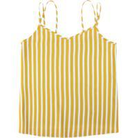 Blusa Amarela Estampada Com Alça Dupla