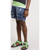 Bermuda Jeans Masculina Reta Destroyed Com Cinto Cordão Azul Escuro