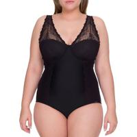 Body Bojo Com Renda Plus Size - Preto - 1Xl