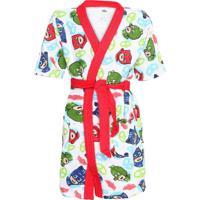 Roupão Lepper Pj Masks Kimono Branco/Vermelho