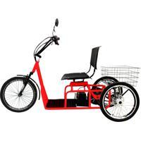Triciclo Elétrico Duos 800W Aro 20 Freio A Disco Confort Vermelho/Preto