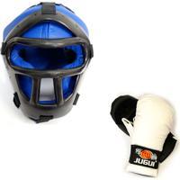 Capacete Com Grade Luva De Karate Jugui Azul