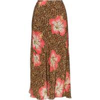 Rixo Saia Midi Kelly Com Estampa Floral - Marrom