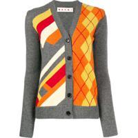 Marni Cardigan Com Estampa Gráfica - Cinza