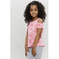 Blusa Infantil Open Shoulder Estampada Unicórnio Manga Curta Decote Redondo Rosa