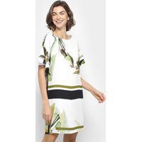 Vestido Forum Curto Estampado - Feminino-Branco+Laranja