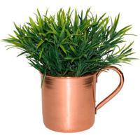 Vaso Com Podocarpus Artificial Cobre
