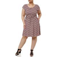 Vestido Médio Plus Size Feminino Rosa