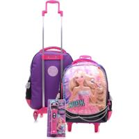 Mochila De Rodinhas Infantil Sestini M Rock N Royals Roxa Barbie