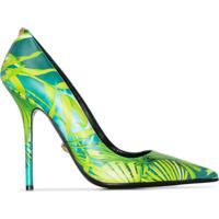 Versace Sapato Com Estampa De Folha E Salto 110Mm - Verde