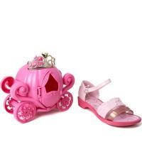 Sandália Infantil Grendene Princesas Disney Cinderela + Brinde Porta-Joias E Tiara
