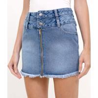 Saia Jeans Com Cós Alto E Zíper Frontal