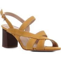 Sandália Couro Shoestock Nobuck Salto Bloco Médio Feminina - Feminino-Mostarda