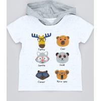 Camiseta Infantil Bichos Com Estampa Interativa E Capuz Manga Curta Branca