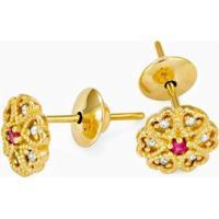 Brinco Em Ouro Trevo Com 1 Rubi E 6 Brilhantes - Br15096 Casa Das Alianças Feminino - Feminino-Dourado