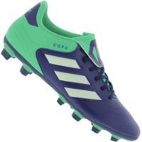 Chuteira De Campo Adidas Copa 18.4 Fxg - Adulto - Azul Esc/Verde Cla