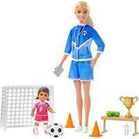 Boneca Barbie E Playset - Barbie Técnica - Loira - Treinadora De Futebol - Mattel - Loira Glm47