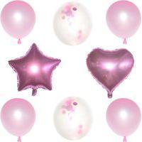 Kit Com 08 Balões Buque Látex/Metalizado - Rosa