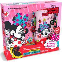 Kit Shampoo + Condicionador Disney Minnie Mouse Tratamento Cabelos + Hidratados Com Cartela Adesivos 250Ml