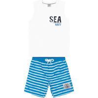 """Conjunto De Regata """"Sea Navy"""" + Bermuda- Branco & Azul"""