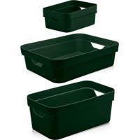 Kit Caixas Organizadoras Multiuso 3Pçs Ou Verde Botânico