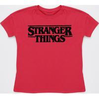 Blusa Stranger Things Juvenil Manga Curta Vermelha