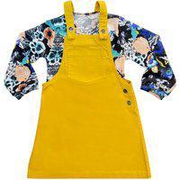 Salopete Amarela Infantil Look Jeans C/ Blusa Tricô Floral