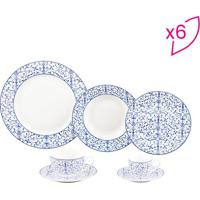 Aparelho De Jantar Abstract- Branco & Azul- 42Pçs