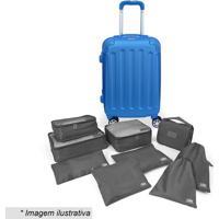 Kit De Organizadores Para Viagem + Mala- Cinza Escuro & Luggtogo