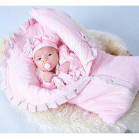 Saída De Maternidade Sônia Enxovais Menina Giulia Com Porta Bebê Rosa