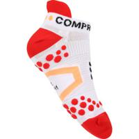 Meia De Compressão Compressport Run Low V2.1 - Masculina - Branco/Vermelho
