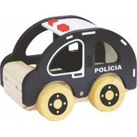Carrinho De Madeira Newart Toys Coleção Carrinhos - Polícia - Preto