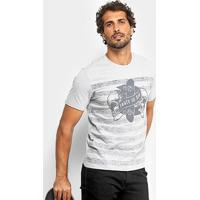 Camiseta Mood Striped Skull Masculina - Masculino-Cinza Claro
